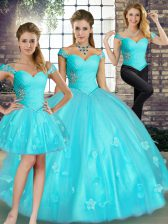 Aqua Blue Three Pieces Off The Shoulder Sleeveless Tulle Floor Length Lace Up Beading and Appliques 15 Quinceanera Dress