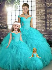 Aqua Blue Ball Gowns Tulle Off The Shoulder Sleeveless Beading and Ruffles Floor Length Lace Up Quince Ball Gowns