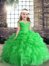 Latest Sleeveless Floor Length Beading and Ruffles Lace Up Kids Formal Wear with Green