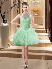 Nice Ball Gowns Apple Green Halter Top Tulle Sleeveless Mini Length Lace Up