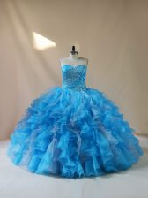 Unique Floor Length Lace Up Quinceanera Gowns Baby Blue for Sweet 16 and Quinceanera with Beading and Ruffles