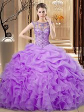 Noble Organza Sleeveless Floor Length Quinceanera Gown and Beading and Ruffles and Pick Ups