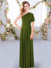 Discount Olive Green One Shoulder Criss Cross Ruching Court Dresses for Sweet 16 Sleeveless