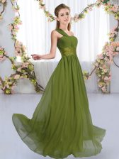 Olive Green Lace Up Quinceanera Dama Dress Ruching Sleeveless Floor Length