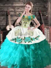Aqua Blue Quinceanera Dresses Sweet 16 and Quinceanera with Embroidery Off The Shoulder Sleeveless Lace Up