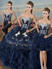Artistic Satin and Organza Sweetheart Sleeveless Lace Up Embroidery and Ruffles Vestidos de Quinceanera in Navy Blue