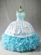 Baby Blue Ball Gowns Beading and Embroidery and Ruffles Quinceanera Gowns Lace Up Fabric With Rolling Flowers Sleeveless Floor Length