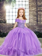 Glorious Sleeveless Beading Lace Up Little Girls Pageant Gowns