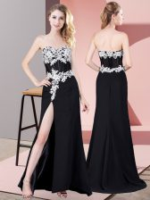 Perfect Chiffon Sweetheart Sleeveless Zipper Lace and Appliques Prom Gown in Black