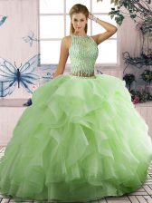 Free and Easy Two Pieces Quinceanera Dress Yellow Green Scoop Tulle Sleeveless Floor Length Lace Up