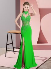 Vintage Sleeveless Floor Length Lace and Appliques Backless with Green