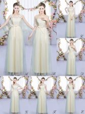 Fashionable Champagne Scoop Lace Up Lace and Bowknot Vestidos de Damas Sleeveless