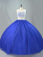 Hot Sale Sleeveless Floor Length Lace Zipper Quinceanera Gowns with Royal Blue