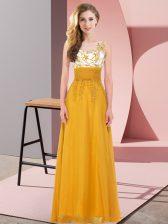 Scoop Sleeveless Damas Dress Floor Length Appliques Gold Chiffon