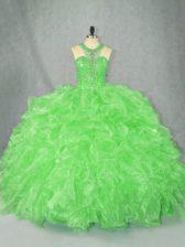 Sleeveless Floor Length Beading and Ruffles Zipper Quinceanera Dress