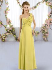 Vintage Yellow Green Sleeveless Floor Length Hand Made Flower Lace Up Quinceanera Dama Dress