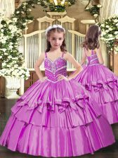 Latest Lilac Taffeta Lace Up Straps Sleeveless Floor Length Pageant Dress for Womens Beading