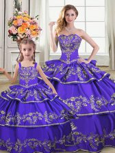 Ball Gowns Sweet 16 Dress Purple Strapless Satin and Organza Sleeveless Floor Length Lace Up