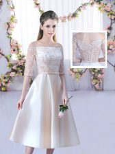 Comfortable Champagne Satin Lace Up Off The Shoulder Half Sleeves Tea Length Quinceanera Dama Dress Lace and Belt