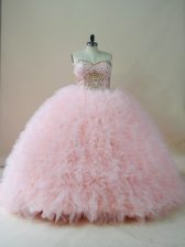 Hot Selling Beading and Ruffles Quinceanera Dresses Baby Pink Lace Up Sleeveless Brush Train