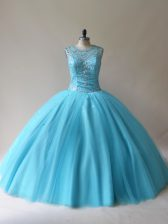 Artistic Scoop Sleeveless Sweet 16 Dresses Floor Length Beading Baby Blue Tulle