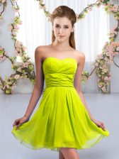 Yellow Green Sleeveless Mini Length Ruching Lace Up Court Dresses for Sweet 16