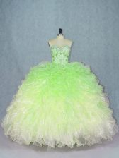 Sweetheart Sleeveless Organza Sweet 16 Dress Beading and Ruffles Lace Up
