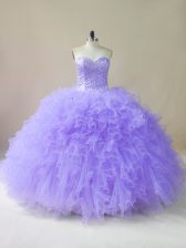 Graceful Lavender Tulle Lace Up Sweetheart Sleeveless Floor Length Sweet 16 Dresses Beading and Ruffles