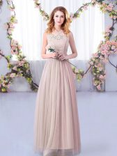 Dynamic Pink Empire Lace and Belt Quinceanera Court Dresses Side Zipper Tulle Sleeveless Floor Length