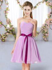 Mini Length Lace Up Vestidos de Damas Lavender for Wedding Party with Belt
