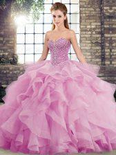 Sweetheart Sleeveless Brush Train Lace Up Sweet 16 Dress Lilac Tulle