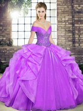 Graceful Lavender Organza Lace Up Off The Shoulder Sleeveless Floor Length 15th Birthday Dress Beading and Ruffles