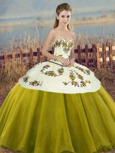Sweetheart Sleeveless 15th Birthday Dress Floor Length Embroidery and Bowknot Olive Green Tulle