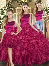 Fuchsia Three Pieces Organza Scoop Sleeveless Ruffles Floor Length Lace Up Quinceanera Dresses