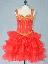 Fancy Beading and Ruffled Layers Prom Evening Gown Red Lace Up Sleeveless Mini Length