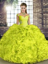 Beauteous Yellow Green Ball Gowns Beading and Ruffles Quinceanera Gown Lace Up Organza Sleeveless Floor Length