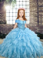 Admirable Blue Pageant Gowns For Girls Party and Military Ball and Wedding Party with Beading and Ruffles Straps Sleeveless Lace Up