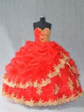 Fashionable Sleeveless Lace and Appliques and Pick Ups Lace Up Sweet 16 Dresses