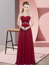 Chiffon Sleeveless Floor Length Prom Party Dress and Beading