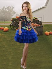 Sleeveless Mini Length Embroidery and Ruffled Layers Lace Up Prom Party Dress with Royal Blue