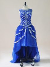 Cheap Sleeveless Tulle High Low Zipper Dress for Prom in Royal Blue with Beading and Appliques