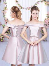 Satin Sleeveless Floor Length Damas Dress and Bowknot