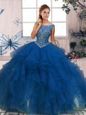 Stunning Beading and Ruffles Quinceanera Gown Blue Zipper Sleeveless Floor Length