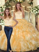 Noble Floor Length Two Pieces Sleeveless Gold Quinceanera Gown Clasp Handle