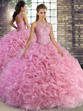 Exceptional Ball Gowns Quince Ball Gowns Rose Pink Scoop Fabric With Rolling Flowers Sleeveless Floor Length Lace Up