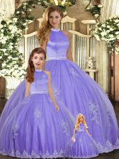Beauteous Halter Top Sleeveless Tulle Vestidos de Quinceanera Beading and Appliques Backless
