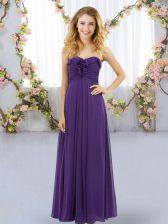 Spectacular Purple Lace Up Sweetheart Ruffles Vestidos de Damas Chiffon Sleeveless