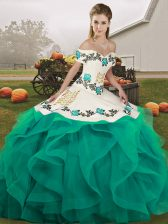 Floor Length Turquoise Quinceanera Gown Tulle Sleeveless Embroidery and Ruffles