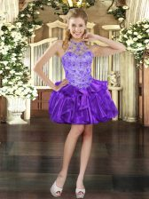 Purple Ball Gowns Organza Halter Top Sleeveless Beading and Ruffles Mini Length Lace Up Prom Dress
