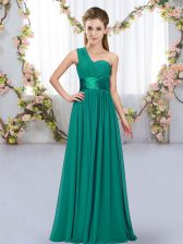 Traditional Peacock Green Empire One Shoulder Sleeveless Chiffon Floor Length Lace Up Belt Quinceanera Court Dresses
